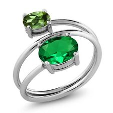 2.00 Ct Oval Green Simulated Emerald Green Tourmaline 925 Sterling Silver Ring