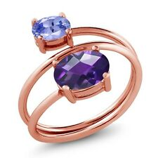 1.90 Ct Oval Checkerboard Amethyst Tanzanite 18K Rose Gold Plated Silver Ring