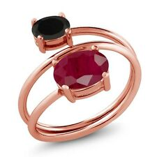 2.38 Ct Oval Red Ruby Black Onyx 18K Rose Gold Plated Silver Open Ring