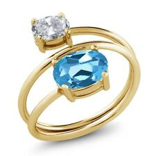 2.30 Ct Oval Swiss Blue Topaz White Topaz 18K Yellow Gold Plated Silver Ring