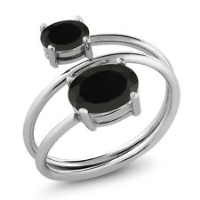 2.03 Ct Oval Black Onyx 925 Sterling Silver Open Ring