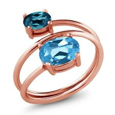 2.30 Ct Oval Swiss Blue Topaz London Blue Topaz 18K Rose Gold Plated Silver Ring