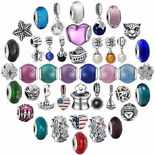 New Arrival Colorful Glass Bead 925 Silver Charms For Sterling Bracelets Bangle