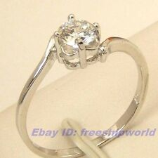 Size 7,8 Ring,REAL ENTICING 0.45Ct GEMSTONE 18K WHITE GOLD GP SOLID FILL GEP