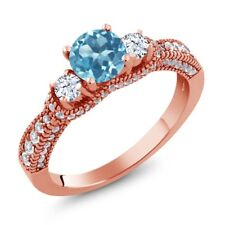 2.17 Ct Round Swiss Blue Topaz White Topaz 18K Rose Gold Plated Silver Ring