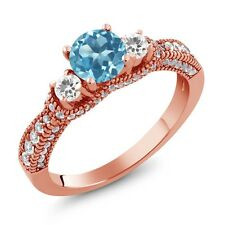 2.15 Ct Round Swiss Blue Topaz White Sapphire 18K Rose Gold Plated Silver Ring