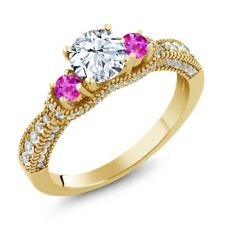1.75 Ct Round White Topaz Pink Sapphire 18K Yellow Gold Plated Silver Ring