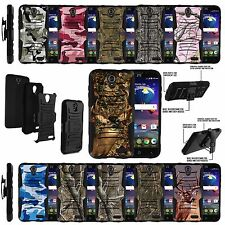 For ZTE Phones Rugged Armor Holster Clip Kickstand Hybrid Tree Camouflage Case