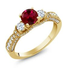 2.27 Ct Round Red Created Ruby White Topaz 18K Yellow Gold Plated Silver Ring
