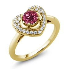 0.77 Ct Round Pink Tourmaline AAA 18K Yellow Gold Plated Silver Heart Ring