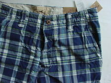 NWT Hollister Low Tide Fit Plaid Shorts Navy Blue White Green Mens Sz 32 33