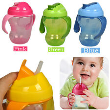 260ml Baby Cup Infant Learn Drinking Straw Handle Bottle Sippy Cup BPA Free Top