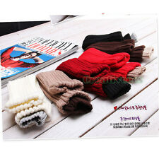 Unisex Knit Double Mouth Fingerless Gloves Lovers Couples Winter Arm Warm Gloves