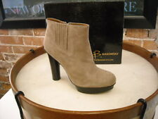 B Makowsky Vienna Taupe Suede Platform Ankle Boots NEW