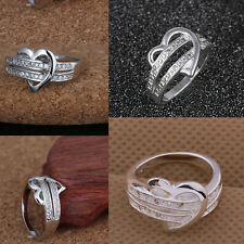 Silver Plated Wedding Ring Crystal Rhinestone Heart Love Ring Gift Size 6/7/8/9
