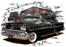 1958 Black Chevy Impala Convertible Hot Rod Garage T-Shirt 58, Muscle Car Tee's