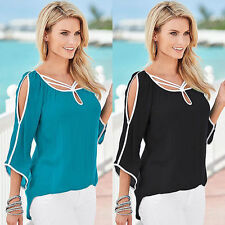 Sexy Womens Loose Long Sleeve Chiffon Casual Blouse T Shirt Tops Fashion Blouse
