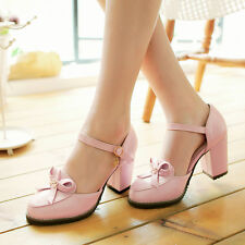 2016 Mary Janes Womens Bowknot Chunky Heels Ankle Strappy Lolita Pumps Shoes