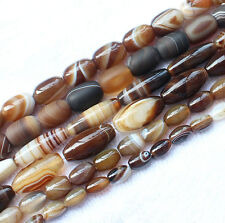 """8-30mm Coffe Color Stripe Agate Oval  beads 15"""""""