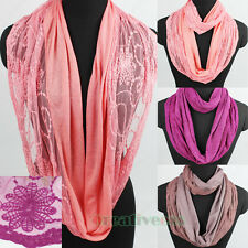 Fashion Womens Floral Lace Solid Color Infinity Loop Scarf Ladies Circle Scarves