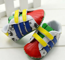 Toddler Baby Boys Girl Color Soft Sole Crib Shoes Sneakers Size 0-18 Months