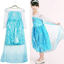 Girls Cosplay Disney Elsa Frozen Dress Costume Princess Anna Party Dresses