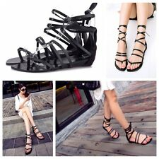 Fashion Womens Summer Flat Thong Cross Strap Lace Up Roman Ankle Strap Sandals