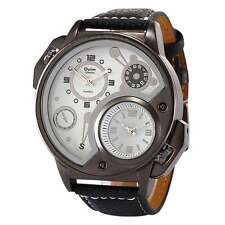 OULM 2 Time Zone Men's Sport Casual Army Military Leather Band Analog Wristwatch
