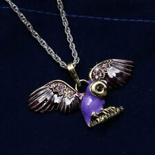 Women's Jewelry Punk Owl Wings Crystal Necklace Bronze Color Pendant Long Chain