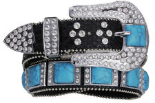 NEW! Western Black Leather Belt Turquoise Squares and Rhinestones  Size 32-40