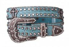 NEW! Western Turquoise Leather Belt, Cross, Rhinestone Size 32-40