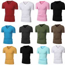 New Mens Slim Fit Short Sleeve V-Neck Cotton T Shirt Muscle Tops Size M - XXL