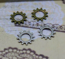 60/300pcs 12mm Antique Bronze silver Lovely Filigree Gear Charms Pendant