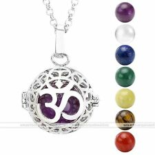 Natural 7 Chakra Gemstone Beads Silver Golden Locket Pendant Chain Necklace Hot