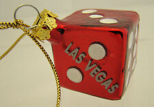 Las Vegas Red Dice Hanging Christmas Tree Ornament Holiday Bones Craps Table