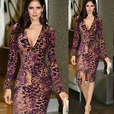 Sexy Women Ladies Cocktail Evening Party Leopard V-Neck Bodycon Dress Prom Gown