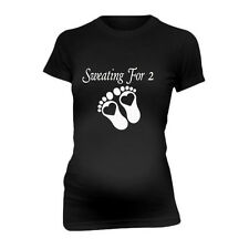 Sweating For 2 Mom New Funny Maternity T-Shirt Tee Shirt Top Baby Shower Gift