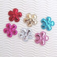 "US SELLER - 60pc x 1"" Padded Silver Shiny Felt Flower Appliques/Christmas ST607"
