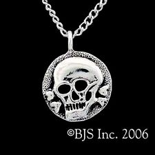 Sterling Silver PIRATE SKULL AND CROSSBONES MEDALLION Necklace, Pirate Trasure