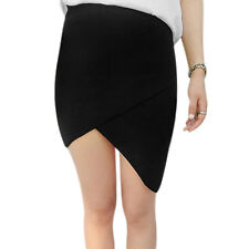 Women Elastic Waist Asymmetric Hem Bodycon Knitted Skirt