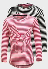 NEW Girls Plain Long Sleeve Striped Round Neck Bow Kids T-shirt Top