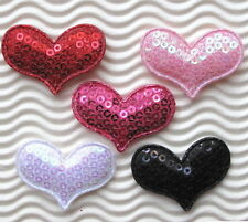 "US SELLER - 60 pc x 1.5"" Padded Sequined Felt Valentine's Heart Appliques ST521M"
