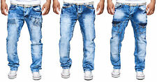 MEN'S JEANS PANTS STRAIGHT CUT FIT CARGO STRETCH DESTROYED