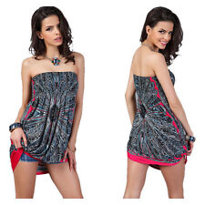 Women's Sexy Bandeau Strapless Tube Top Vest Dress Summer Beachwear Sundress