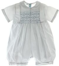 Infant Boys White Christening Outfit with Blue Smocking Feltman Brothers