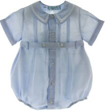 Boys Blue Dressy Belted Bubble Outfit Pintucks Feltman Brothers Baby Clothing
