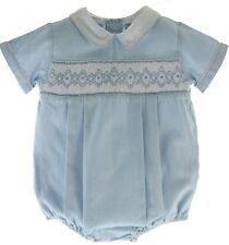 Baby Boys Blue Gingham Smocked Romper Outfit Carriage Boutique