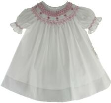 Girls White Bishop Dress Smocked in Pink with Pearls