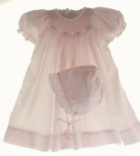 Petit Ami Infant Girls Pink Smocked Day Dress & Bonnet