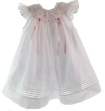 Newborn Girls White & Pink Smocked Angel Bishop Dress Willbeth